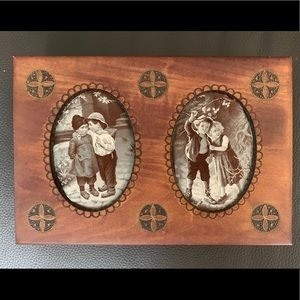 Wooden Jewelry Box w/ Embroidered Silk Insets